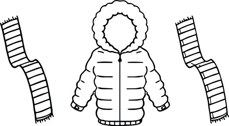 728x403 Scarf Coloring Page Jacket For Winter And Scarf Two Color Coloring