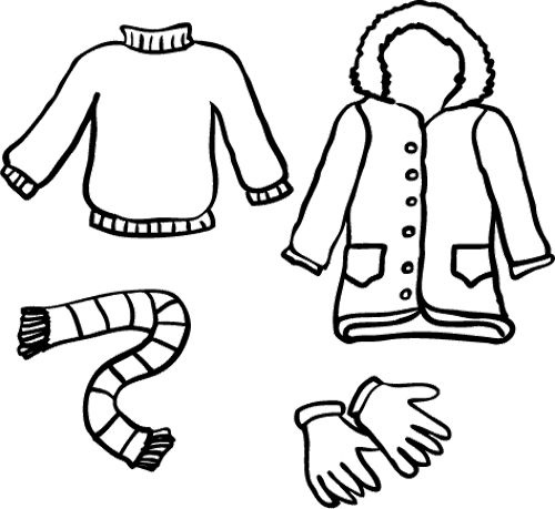 500x459 Winter Clothes Coloring Page Clothing Coloring Pages