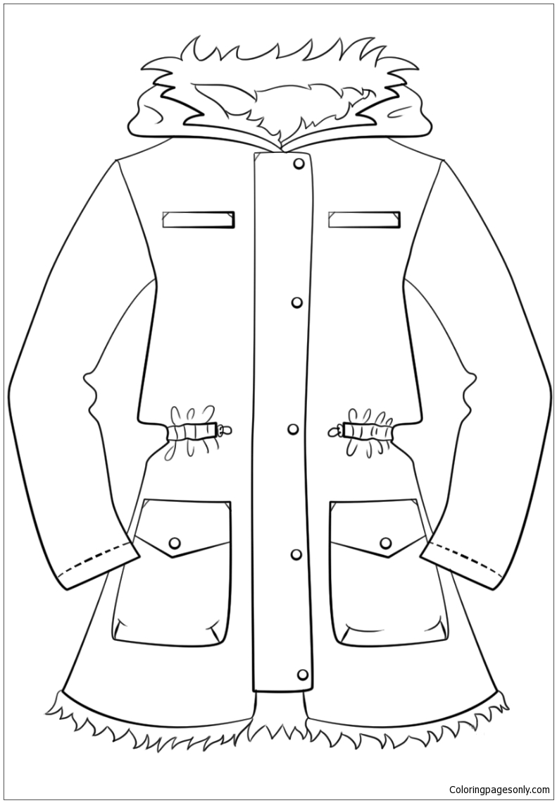 791x1139 Winter Jacket Coloring Page