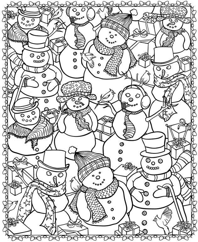 631x770 Adult Coloring Page Winter Snowmen