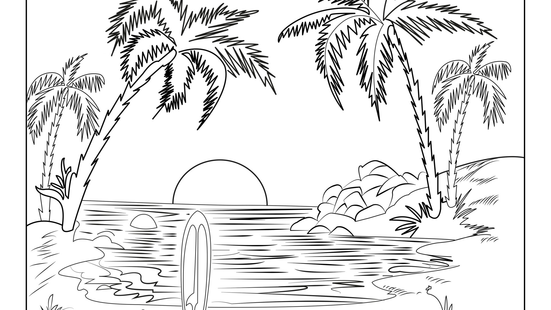 Winter Landscape Coloring Pages at GetDrawings.com | Free ...