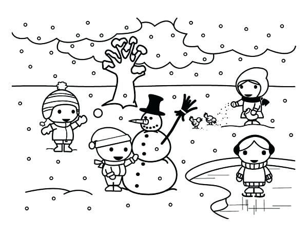 600x462 Winter Landscape Coloring Pages Drawn Snowman Winter Season