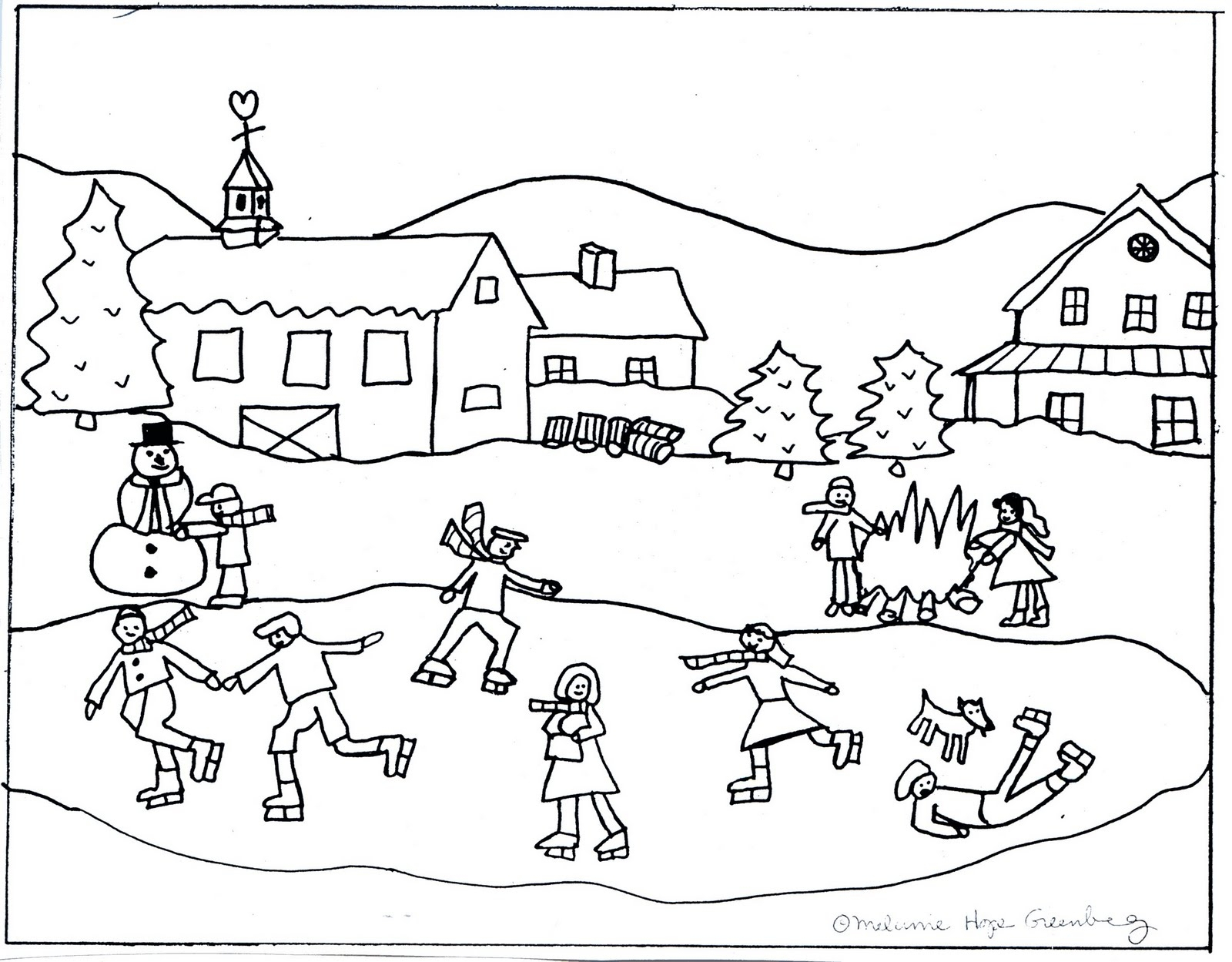 1600x1249 Winter Scene Coloring Sheets Winter Scene Coloring Pages Adult