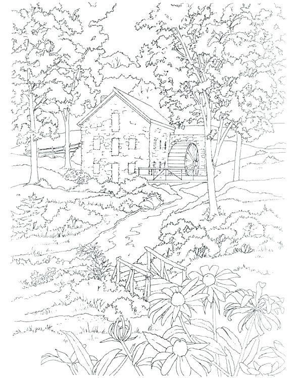586x750 Winter Landscape Coloring Pages