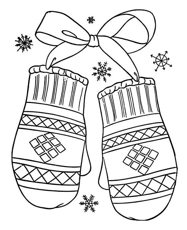 600x738 Winter, A Lovely Winter Mittens Gift Coloring Page A Lovely