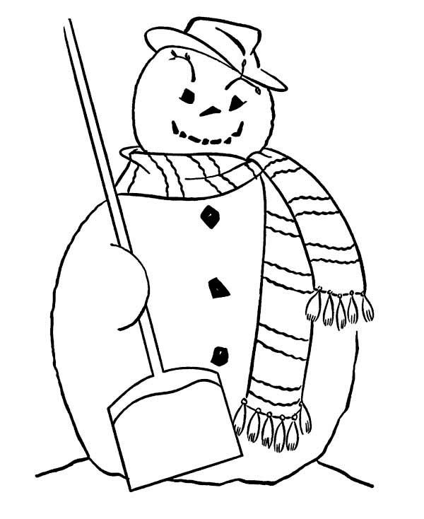 600x734 Fat Snowman With Broom And Long Scarf On Winter Coloring Page