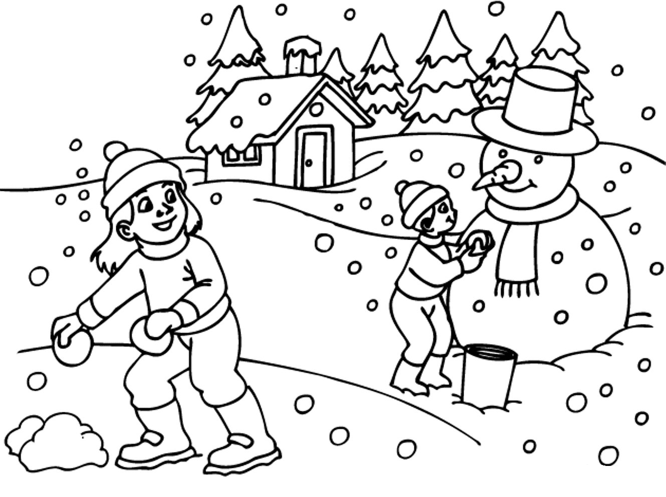 1329x992 Winter Scene Coloring Pages