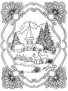 236x315 Winter Scene Coloring Pages For Adults