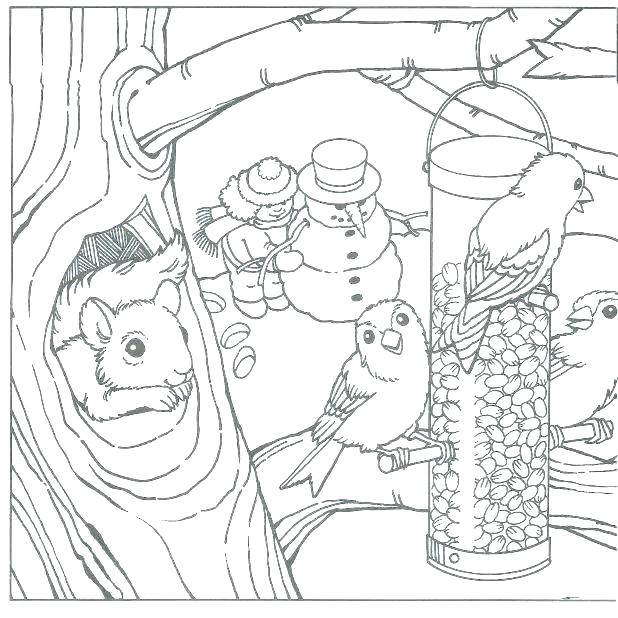 618x618 Winter Scene Coloring Pages