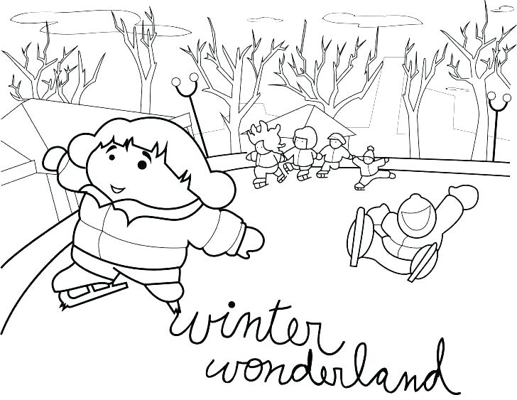 728x563 Winter Scene Coloring Pages