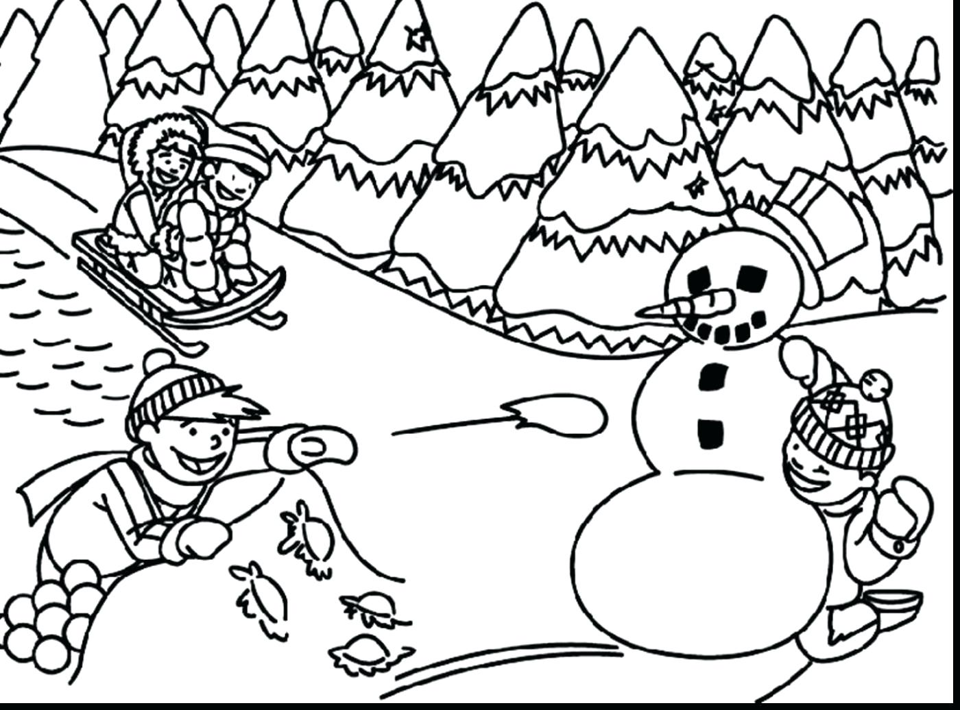 1400x1036 Coloring Pages For Adults Pdf Winter Scene Page A Beautiful