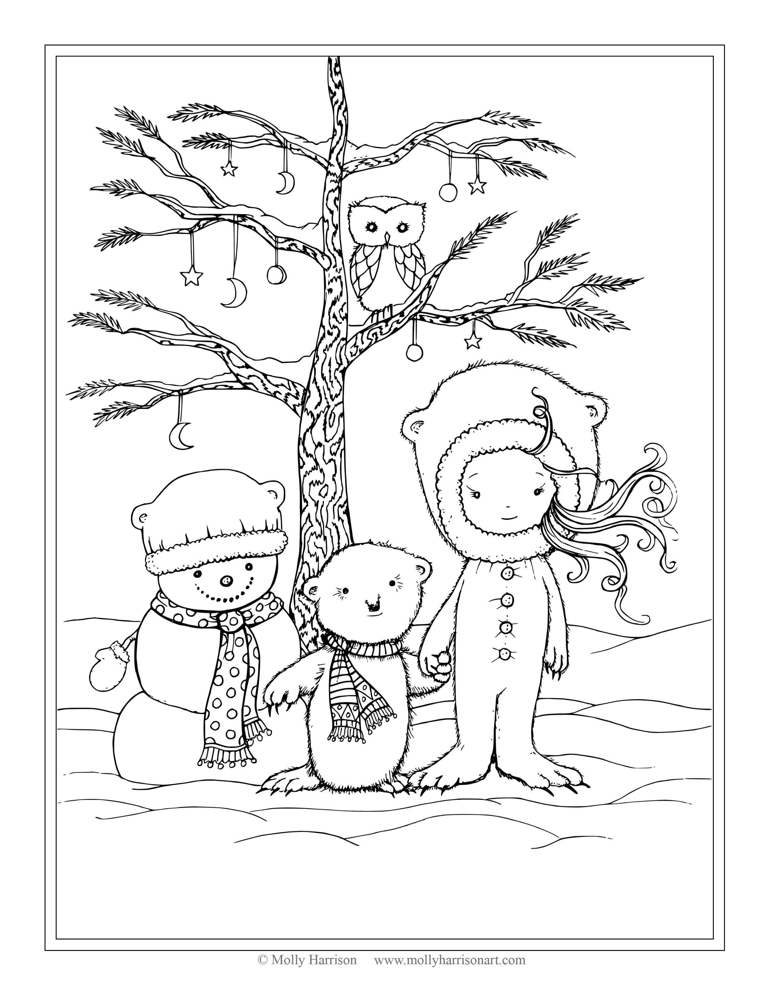 2550x3300 Elegant Free Winter Scene Coloring Page Snowman Polar Bear Little