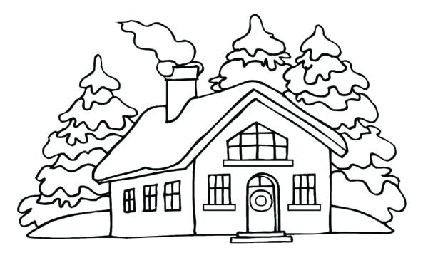 600x379 Coloring Pages Gingerbread Houses House In The Village Page