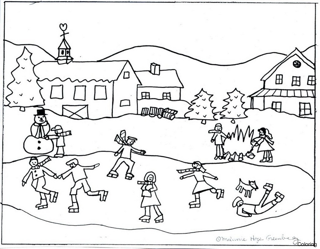 1048x818 Huge Gift Winter Scene Coloring Page Pages Disney Superhero