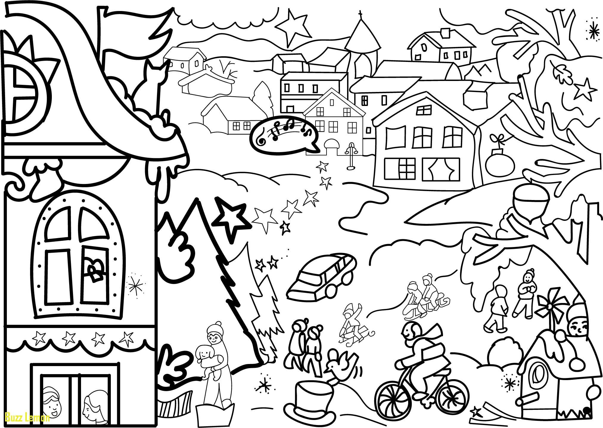 2024x1438 Luxury Coloring Page Village Buzz Coloring