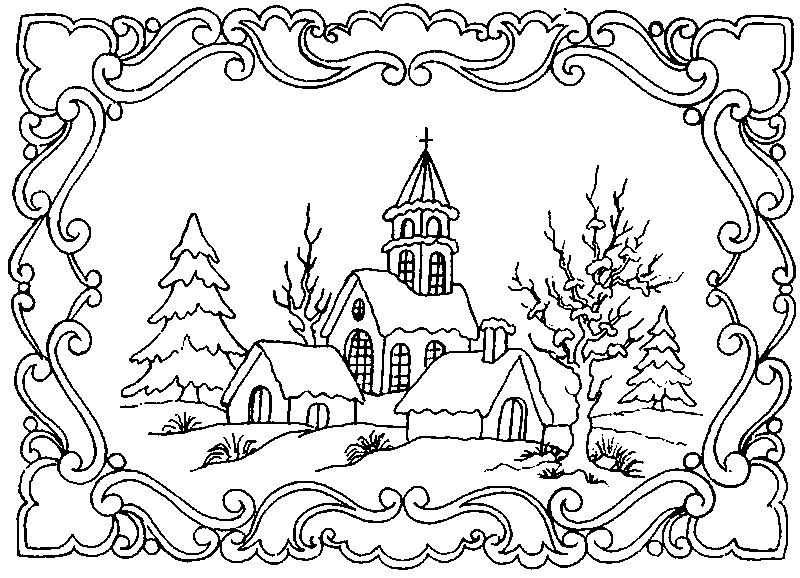 800x578 Winter Scene Coloring Pages For Adults