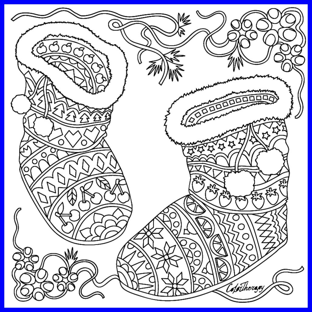 1028x1028 Best Christmas Booties Coloring Page Colortherapy Shoes Image