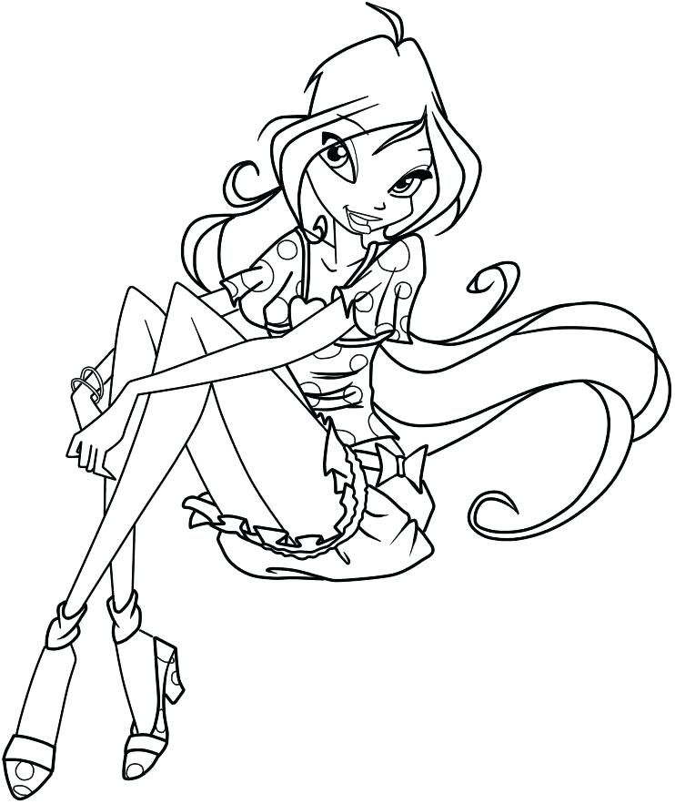 742x883 Winx Club Dark Bloom Coloring Pages Flora