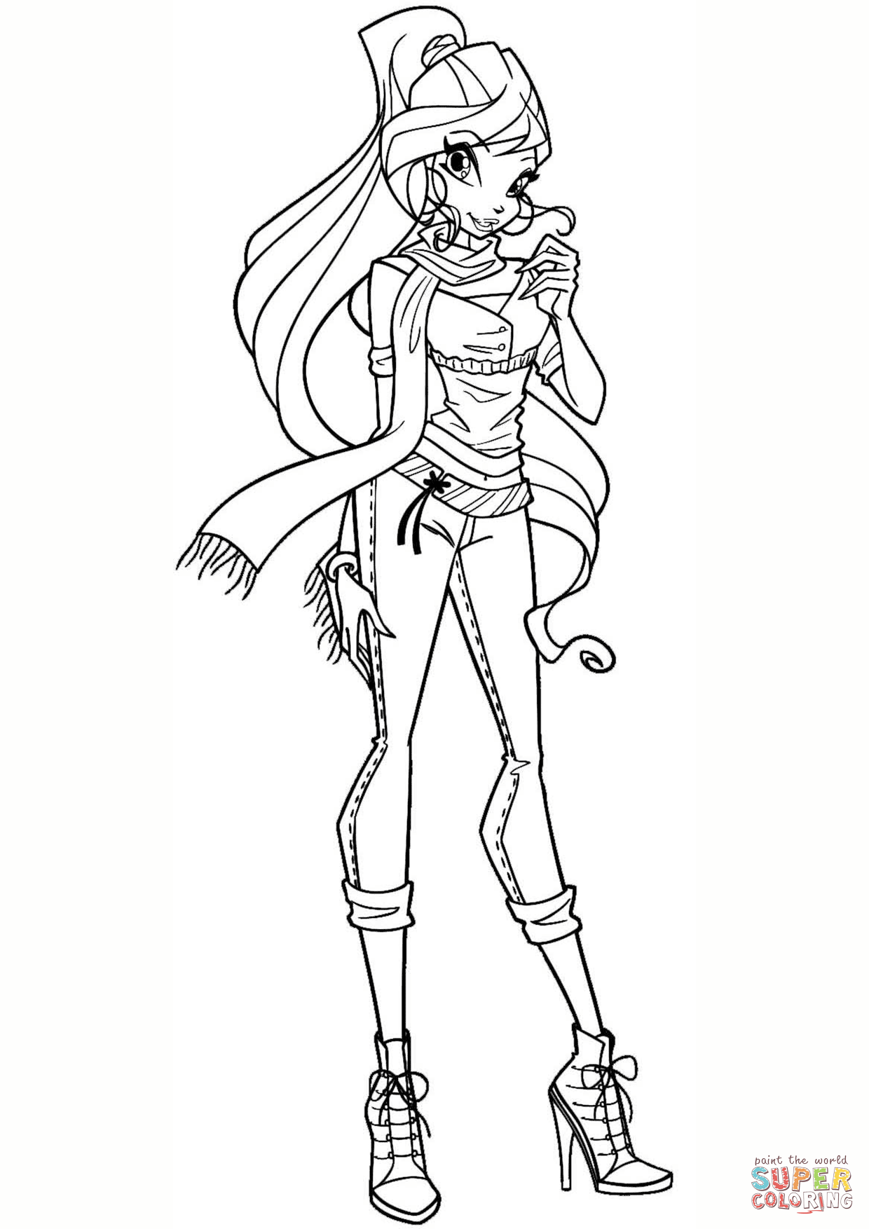 1240x1754 Winx Coloring Pages With Winx Bloom Page Coloring For Kids