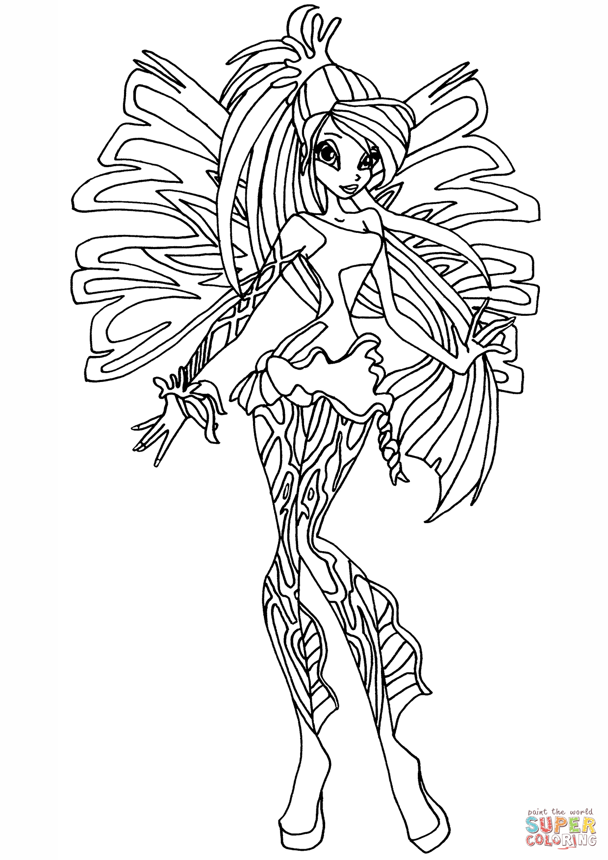 1240x1754 Winx Club Sirenix Bloom Coloring Page Free Printable Coloring