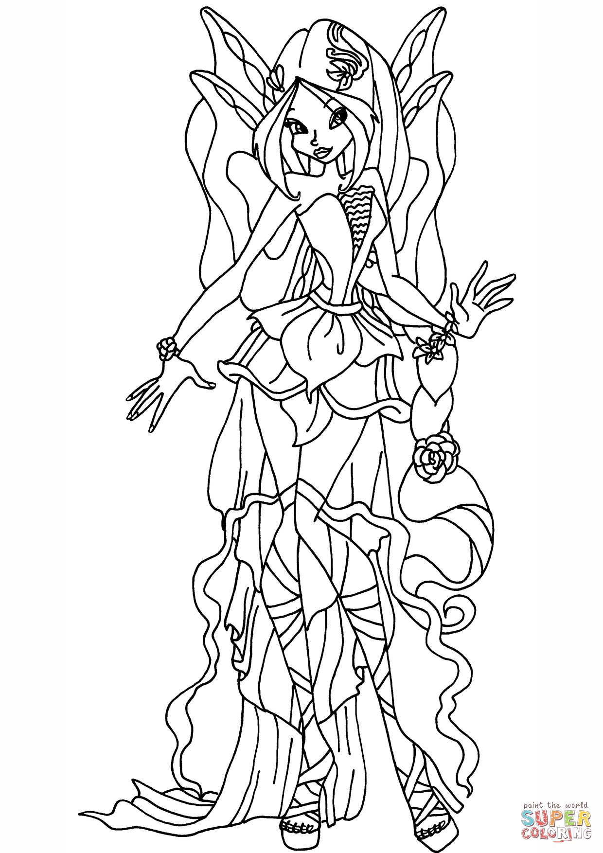 1240x1754 Harmonix Flora Coloring Page Free Printable Coloring Pages Winx