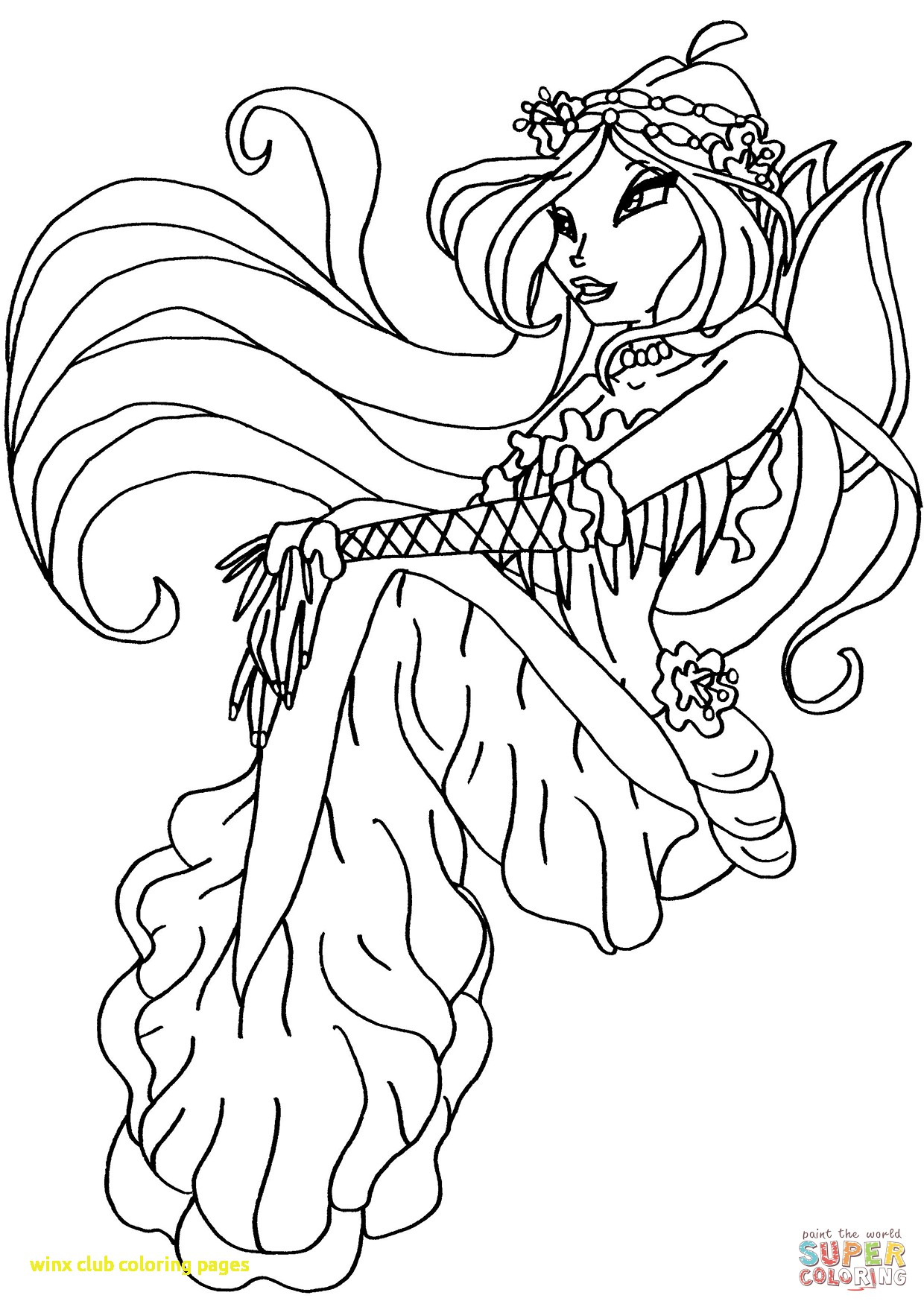 1240x1754 Winx Club Coloring Pages With Winx Club Mermaid Flora Coloring