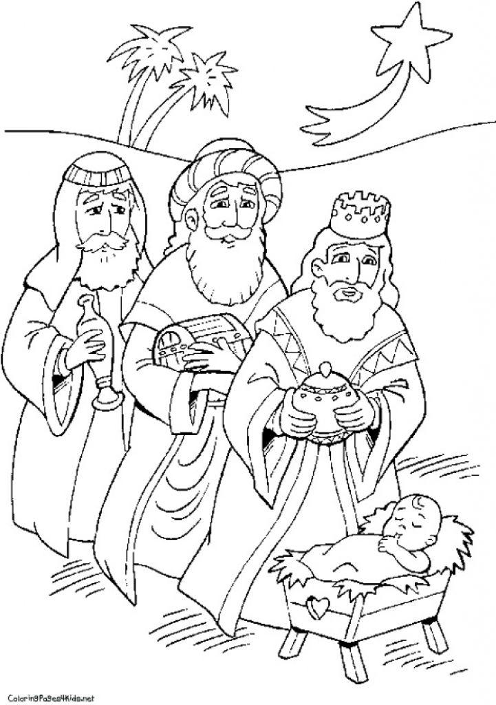 721x1024 Pics Of Nativity Wisemen Coloring Pages Ba Jesus Manger