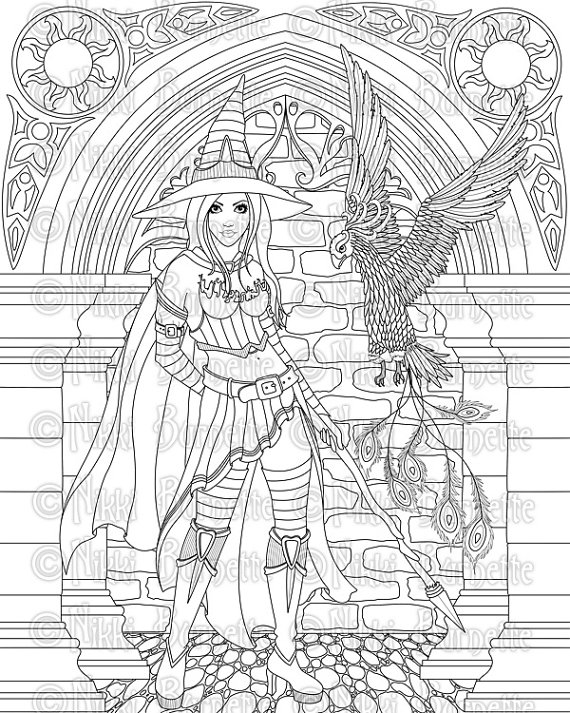 570x713 Digital Stamp Printable Coloring Page Witch Stamp Adult