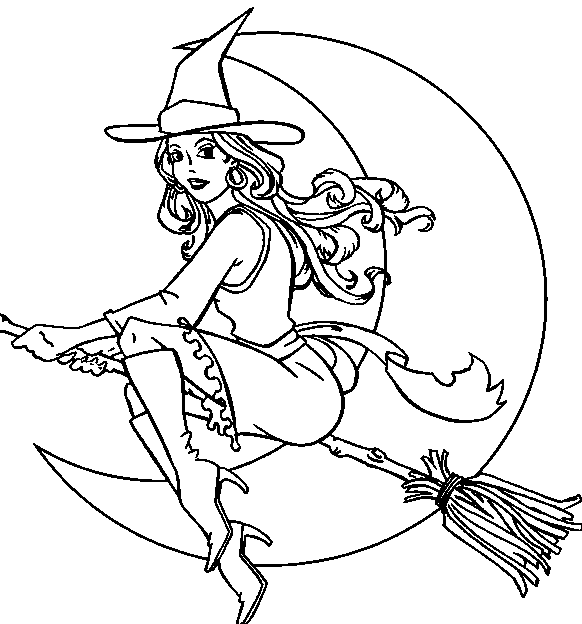 582x624 Witch Free Halloween Coloring Pages For Adults Hallowen Coloring