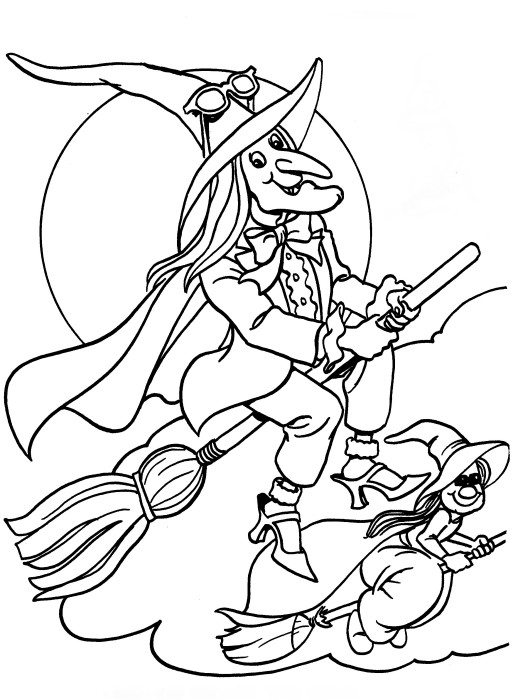 513x700 Flying Witches Halloween Coloring Pages Printable Free Hallowen