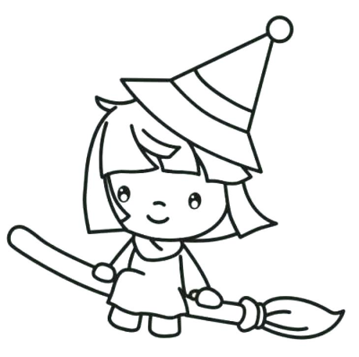 730x726 Witches Coloring Pages Happy Witch Rides Broom Cute Witch