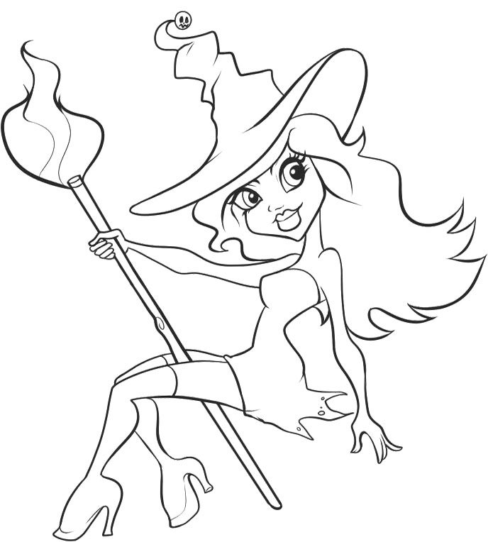 688x764 Pretty Witch Coloring Pages
