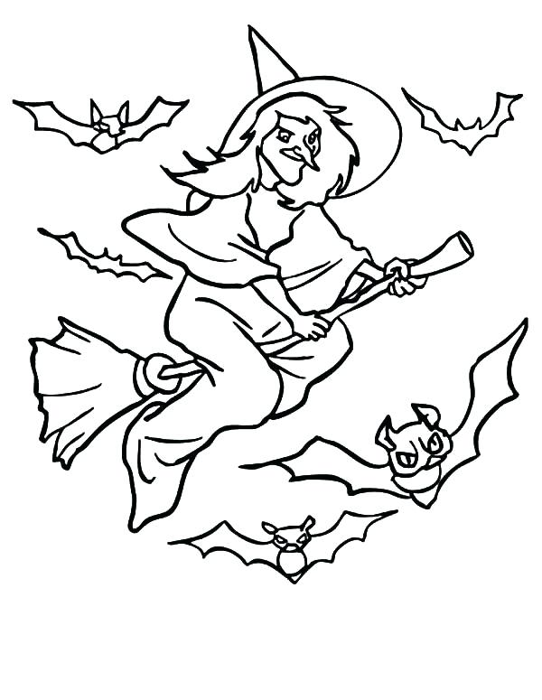 600x775 Witch Coloring Pages Witch Bats Flying Witch Coloring Pages Witch
