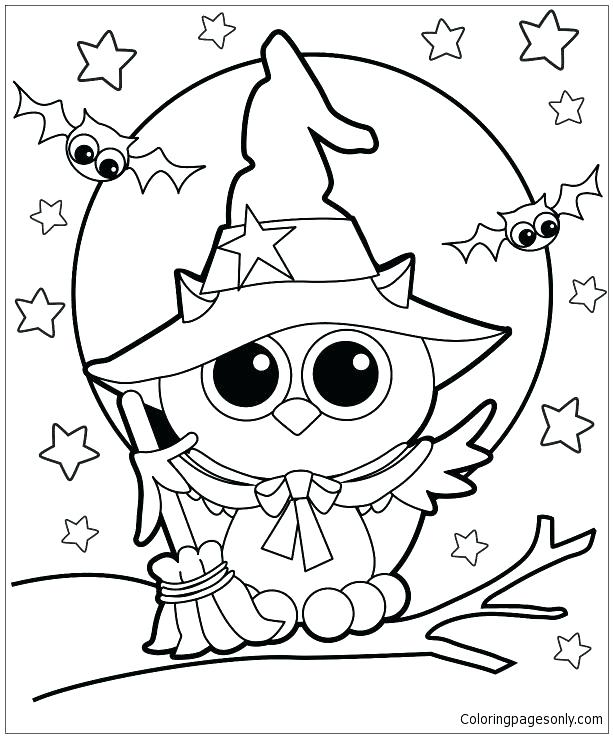 613x738 Coloring Witch Coloring Pages Witches Owl Page Printable Free