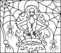 256x226 Witch Coloring Page Printables Apps For Kids