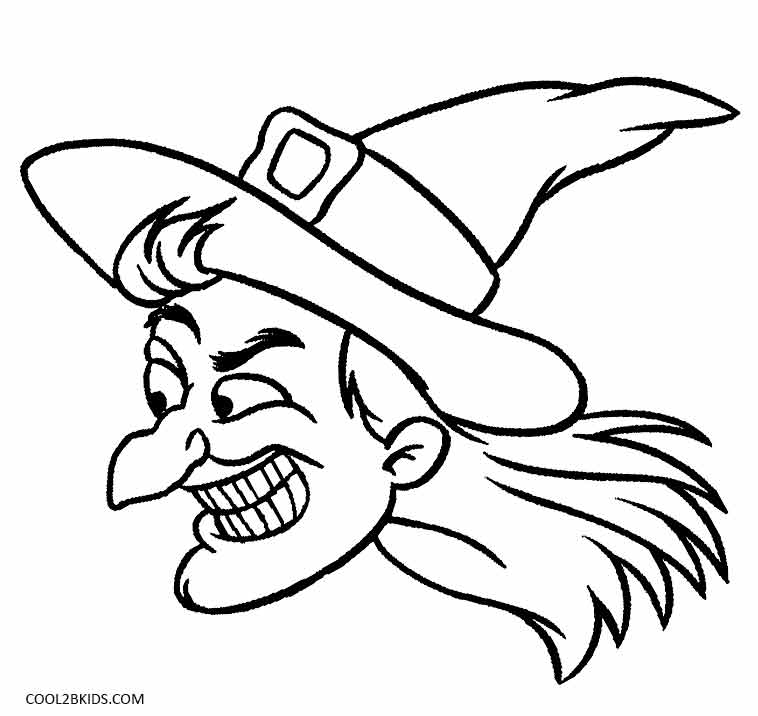 758x716 Witch Face Coloring Pages