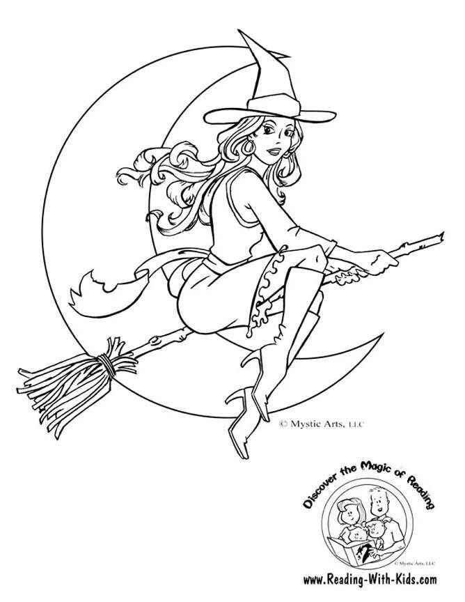 668x864 Witch Coloring Page Halloweenst Patrick's Printable's For Kids