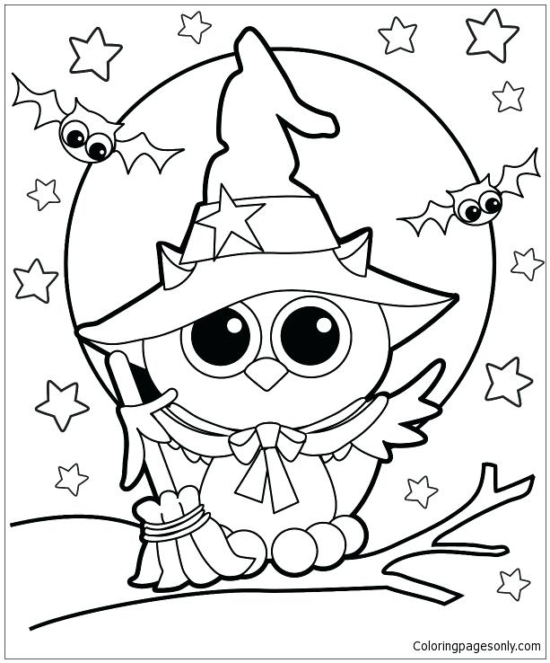 613x738 Witches Coloring Pages Owl Witch Coloring Page Halloween Witches