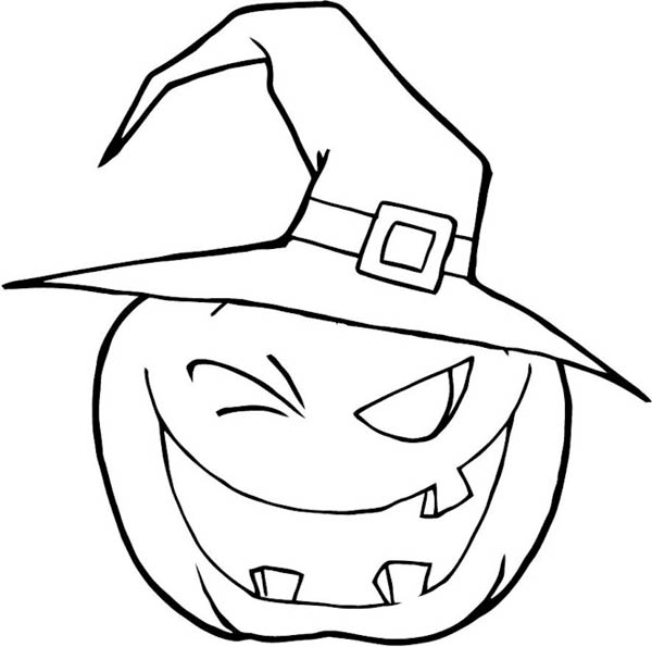 600x595 Halloween Pumpkins Wearing Witch Hat Coloring Page