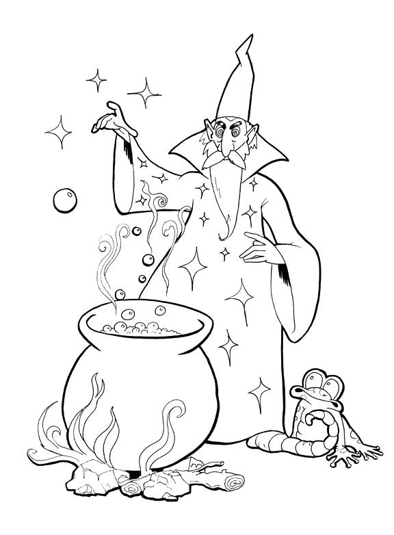 576x782 Wizard Coloring Page Coloring Page The Magician Printable Wizard
