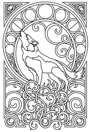 300x431 Arctic Wolf Clipart Coloring Page