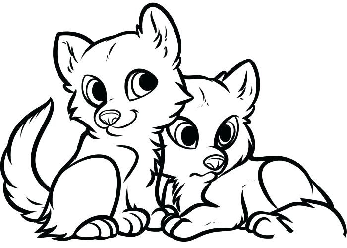 700x500 Cute Wolves Colouring Pages Wolf Coloring Two Page Anime W Sapia