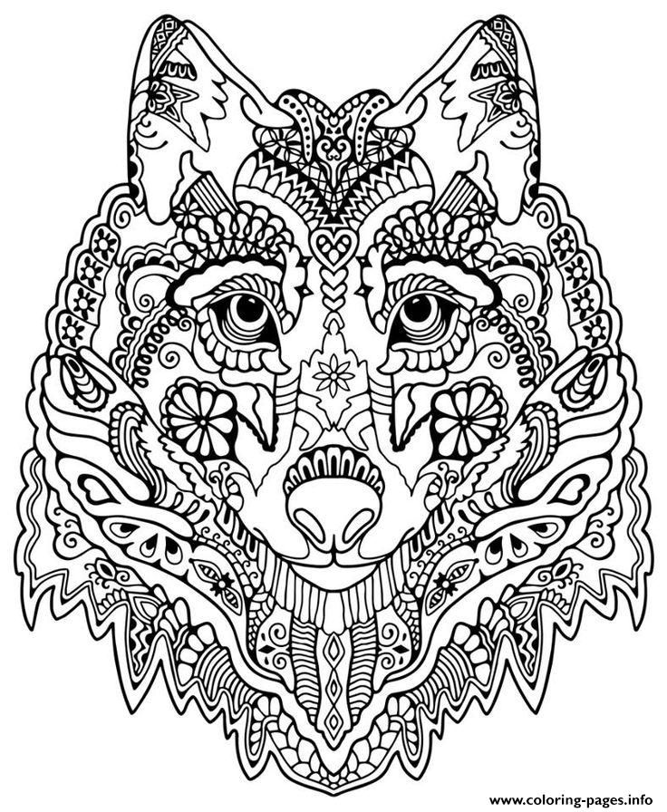 736x896 Print Cute Wolf Adult Mandala Grown Up Coloring Pages Free