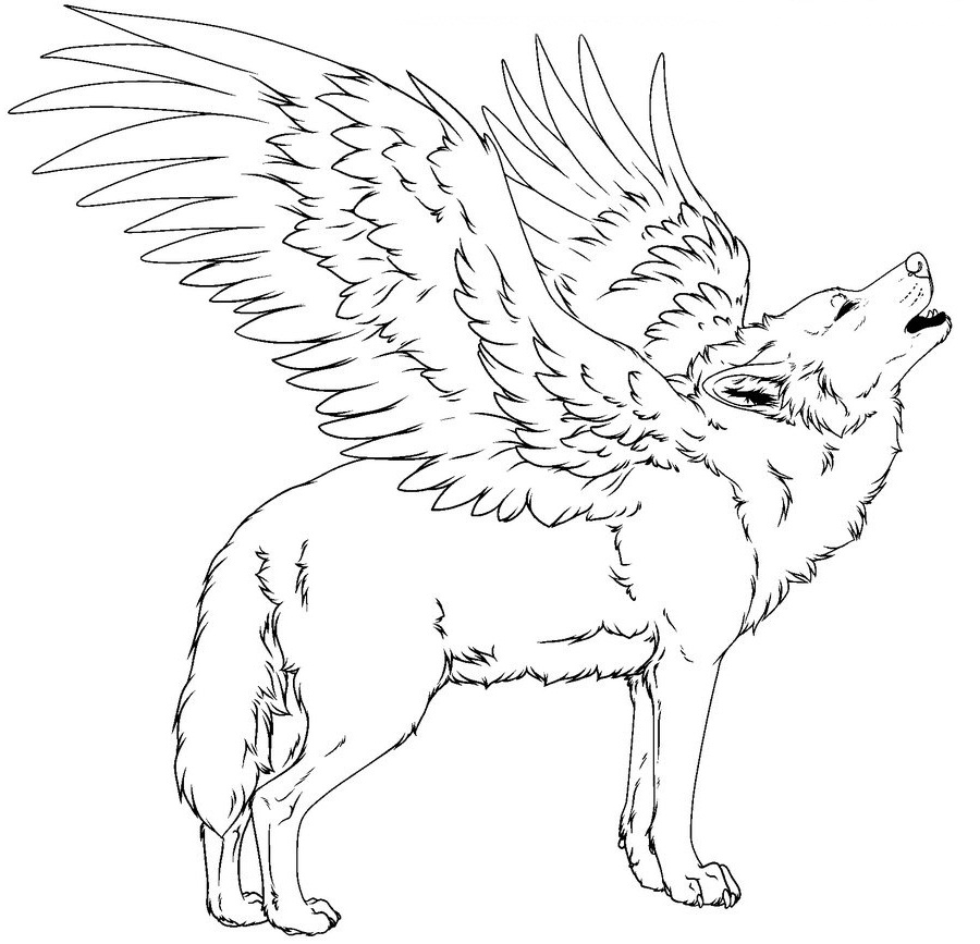 900x867 Winged Wolf Coloring Pages