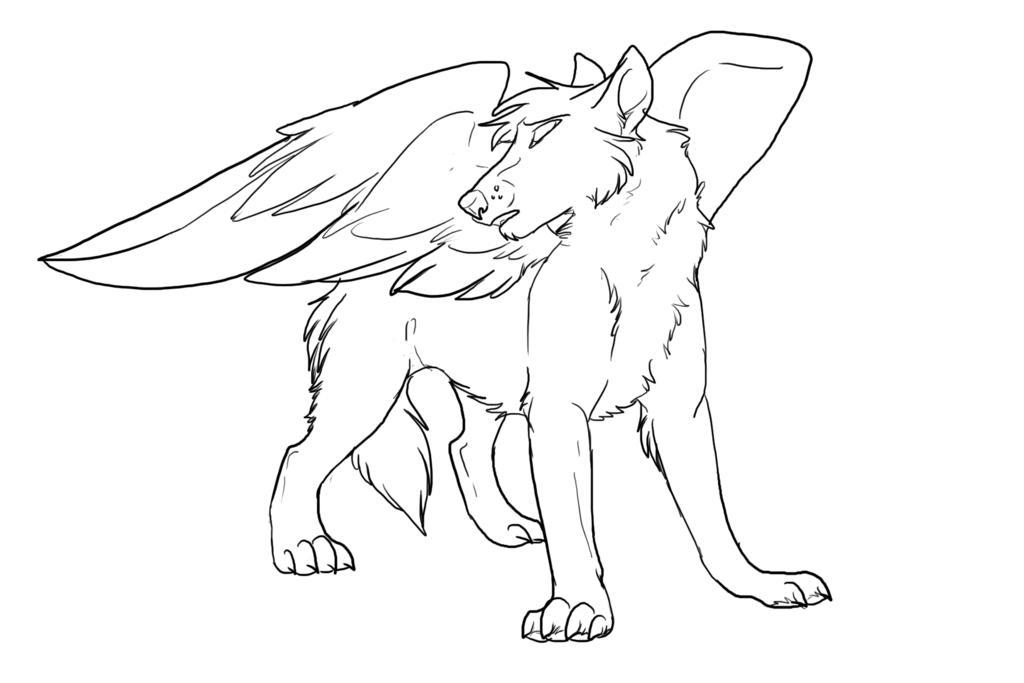 1024x683 Winged Wolf Coloring Pages