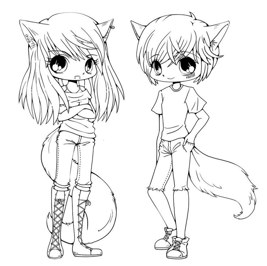 897x891 Appealing Wolf Girl Coloring Pages Picture Of Chibi Cat Concept