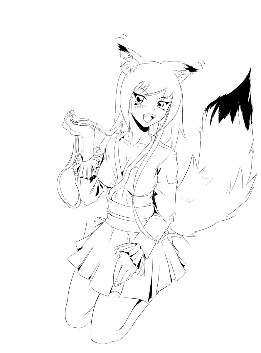 889x1200 Fox Anime Girl Coloring Pages And Wolf