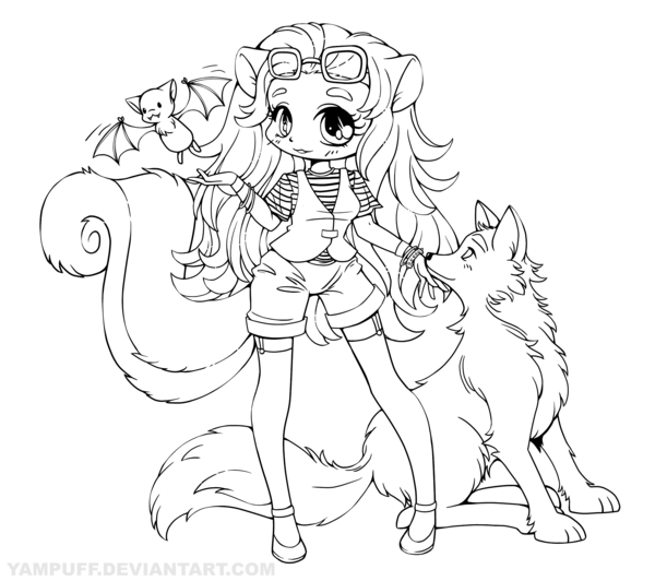 600x532 Skunk Girl With Wolf And Bat