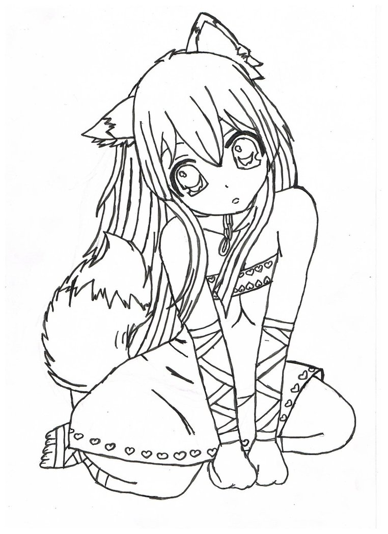 762x1048 Anime Wolf Girl Coloring Page Download