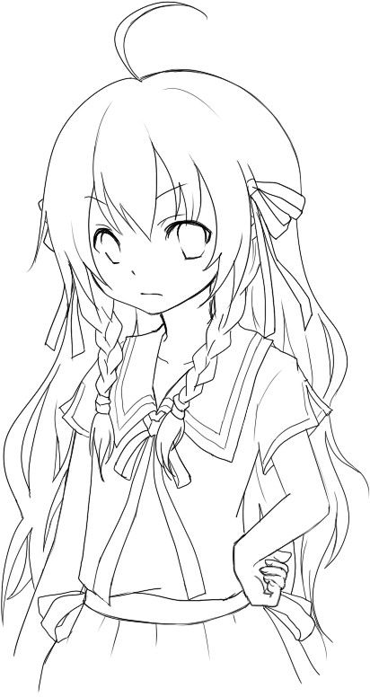 412x776 Anime Emo Wolf Girl Coloring Pages